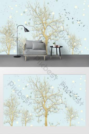 pared de fondo de pájaro de textura de arena de árbol hermoso moderno Decoración y modelo Modelo PSD