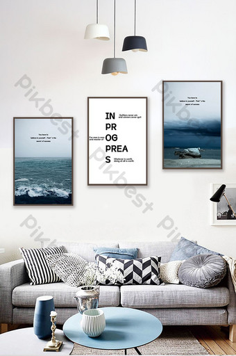 Modern minimalist nordic style sea view triptych decorative painting Decors & 3D Models Template PSD
