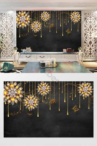 رائع الزهور والمجوهرات الذهبية والفراشات خلفية الجدار الديكور والنموذج قالب PSD