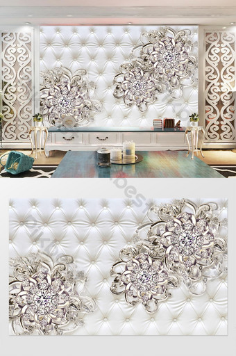 銀色優雅飾品花卉軟包背景牆 裝飾·模型 模板 PSD