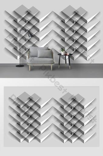 الحد الأدنى الحديثة الرياح المعدنية الصناعية هندسية خلفية الجدار ثلاثي الأبعاد الديكور والنموذج قالب PSD