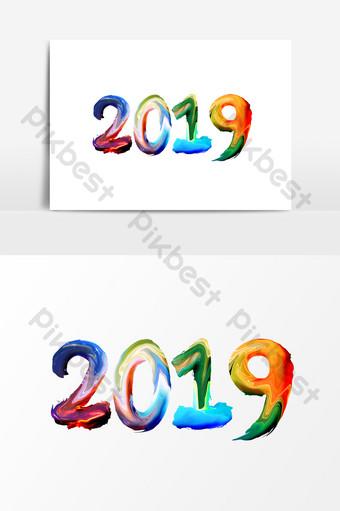 創意油漆字體效果2019文字設計 元素 模板 PSD