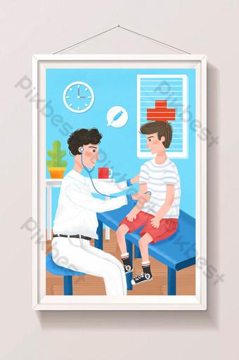 cartoon doctor boy see a medical health hospital physical examination illustration Illustration Template PSD