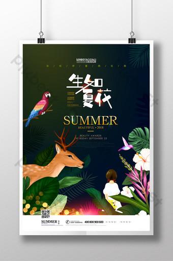 像夏天的花朵一樣綻放插圖美麗的海報 模板 PSD