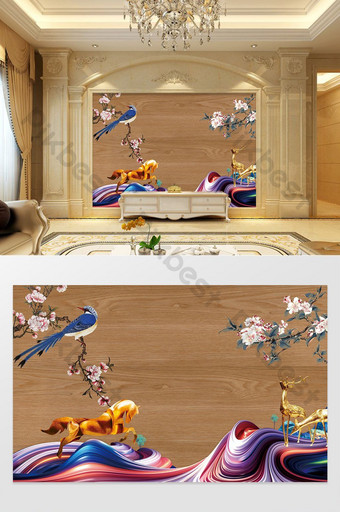 النمط الصيني النفط الطلاء الحصان رافعة الطيور لوح خشبي التلفزيون خلفية الجدار الديكور والنموذج قالب PSD