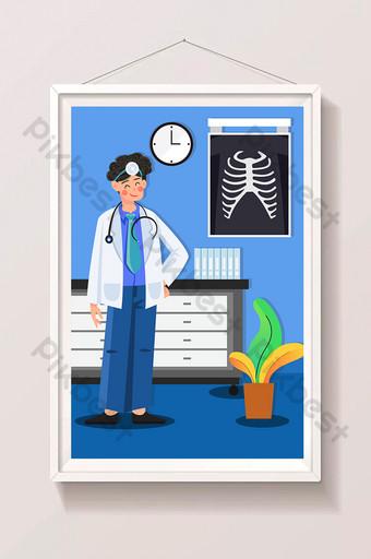 cartoon doctor see a medical health hospital infirmary physical examination illustration Illustration Template AI