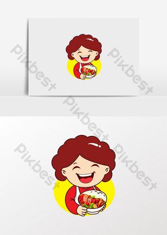 dibujos animados mamá catering comida para llevar logo Elementos graficos Modelo CDR