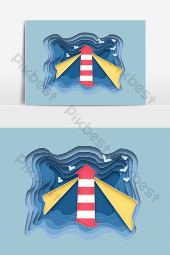 Flat paper-cut style fresh seaside sea tower chaihua decorative elements PNG Images Template PSD