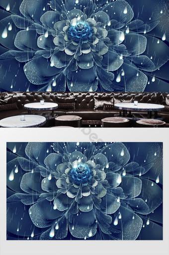 ثلاثي الأبعاد 3d رائع زهرة قطرات المطر الأدوات خلفية الجدار الديكور التخصيص الديكور والنموذج قالب PSD