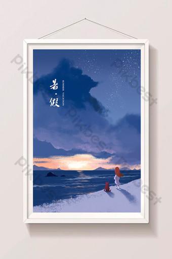 seaside vacation illustration dream travel purple sky Illustration Template PSD