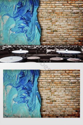 ثلاثي الأبعاد جدار من الطوب مجردة الأزرق الكتابة على الجدران الأدوات خلفية الديكور التخصيص الديكور والنموذج قالب PSD