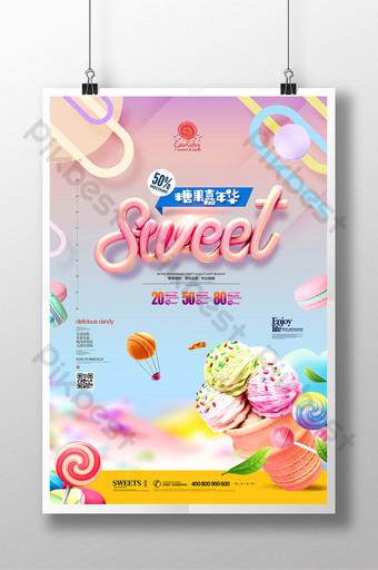 poster promosi makanan ringan gourmet karnaval gourmet lezat Templat PSD