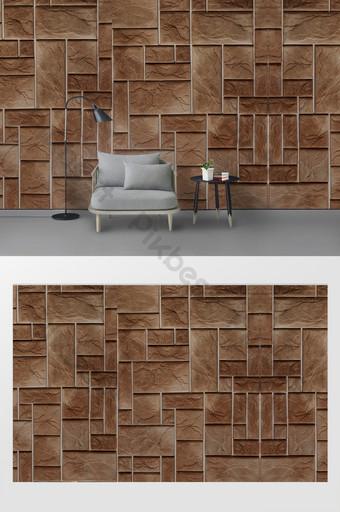 latar belakang wallpaper dinding bata tekstur tiga dimensi modern minimalis Dekorasi dan model Templat PSD