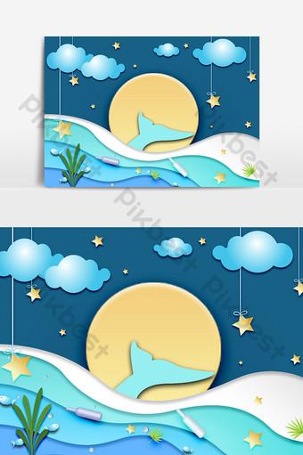 superficie del mar luz de la luna cola de pez cuento de hadas papel cortado decoración Elementos graficos Modelo PSD