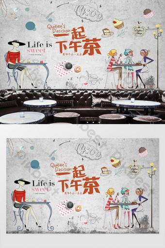 té de la tarde coffeeeeeee tienda fondo pared Decoración y modelo Modelo PSD