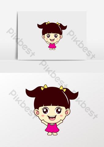 dibujos animados niña comida bocadillos niños ropa logo Elementos graficos Modelo CDR