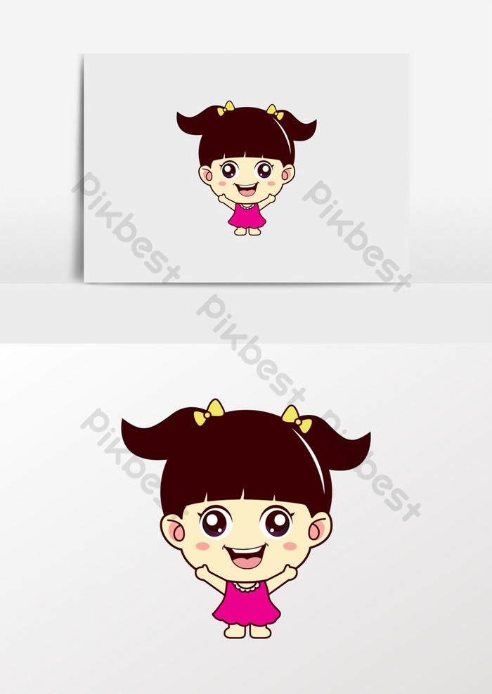 Cartoon Little Girl Food Snacks Kids Clothes Logo Graphic