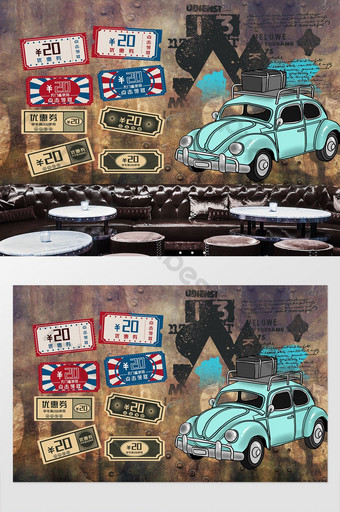 British retro industrial machinery locomotive license plate background wall Decors & 3D Models Template PSD
