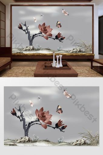 النمط الصيني زهرة العشب الباستيل والطيور التلفزيون أريكة خلفية الجدار الديكور والنموذج قالب TIF