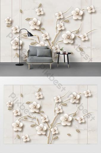 moderno simple moda tridimensional flor rama hermosa pequeña sala de estar fresca pared de fondo Decoración y modelo Modelo PSD