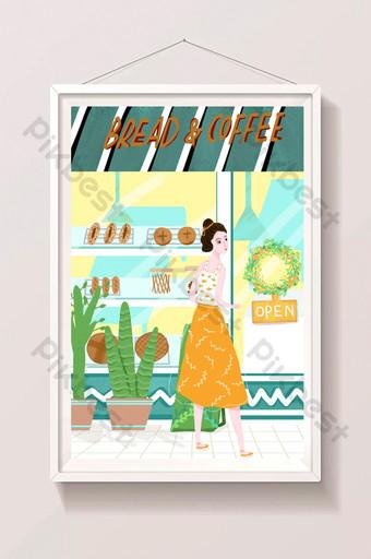 hermosa y fresca tienda de postres panadería coffeeeeeee edificio ilustración Ilustración Modelo PSD