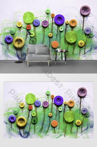 الحد الأدنى الحديثة أزرار تنقش الأزهار خلفية الكتابة على الجدران الديكور والنموذج قالب PSD