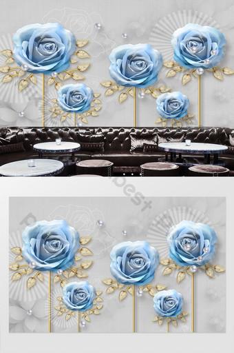 moderno minimalista pequeño fresco azul rosa joyería hermosa pared de fondo Decoración y modelo Modelo PSD