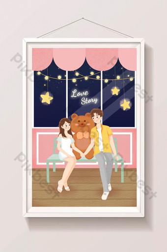 romántico y hermoso día de san valentín pareja de tanabata historia de amor dibujada a mano ilustración Ilustración Modelo PSD