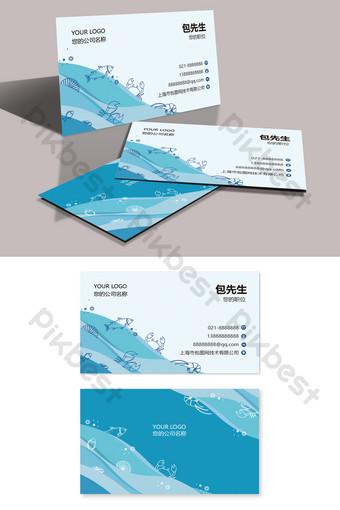 Carte de visite peinte à la main bleue aquatique de fruits de mer de restauration de mode créative Modèle AI