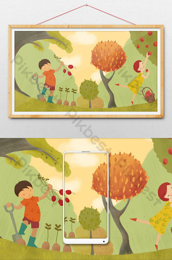 small fresh autumn fruits and vegetables harvest season drawing illustration Illustration Template PSD