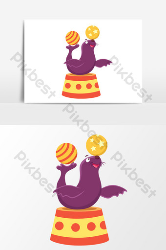 ocean world sea lion performance cartoon drawing vector elements PNG Images Template AI