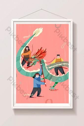 紅色中國傳統文化吉祥舞龍圖 插畫 模板 PSD