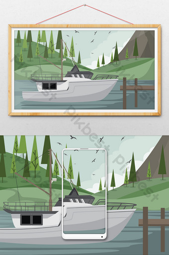 Nature illustration background of fishing boat out to sea Illustration Template AI
