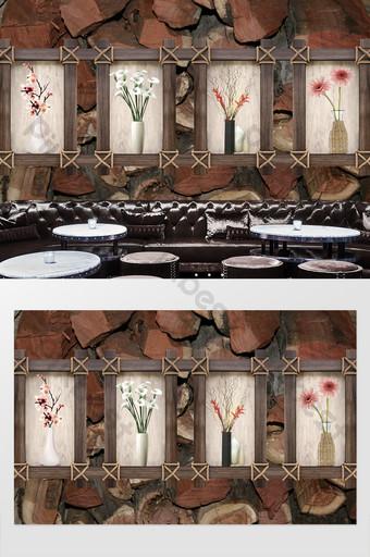 nórdico simple moda florero de madera flor crisantemo pequeño fondo floral pared Decoración y modelo Modelo PSD