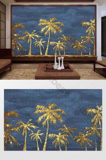 النمط الصيني الجديد الذهبي شجرة جوز الهند المشهد خلفية الجدار الديكور والنموذج قالب PSD