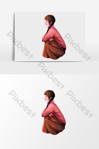 elemento de ilustración de niña en cuclillas de dibujos animados Ilustración Modelo PSD
