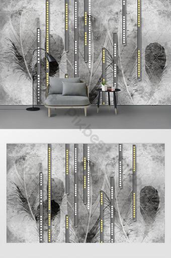 بسيطة وعصرية النمط الصناعي ريشة رمادية نمط هندسي لينة حزمة خلفية الجدار الديكور والنموذج قالب PSD