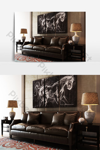 نموذج أريكة من الجلد البني الحديث الديكور والنموذج قالب MAX