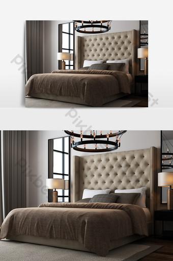 現代簡約臥室組合模型 裝飾·模型 模板 MAX