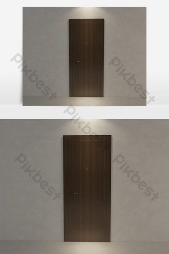 Simple style solid wood security door Decors & 3D Models Template MAX