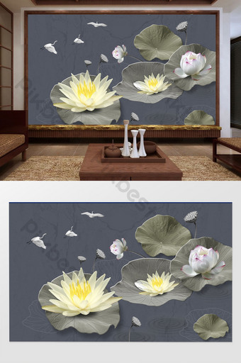 النمط الصيني المفهوم الفني الرجعية لوتس البلشون الأبيض بسيطة أزياء لينة حزمة خلفية الجدار الديكور والنموذج قالب PSD