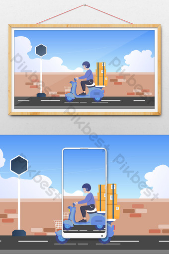 Cartoon sending courier riding electric car to work boy transportation illustration Illustration Template AI