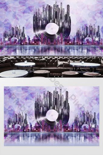 شريط ktv cd مدينة الغناء القرص صورة ظلية خلفية الجدار الديكور التخصيص الديكور والنموذج قالب PSD