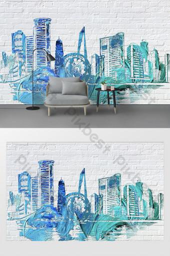 الحد الأدنى الحديثة ثلاثي الأبعاد الكتابة على الجدران مدينة صورة ظلية تخصيص خلفية الجدار الأبيض الديكور والنموذج قالب PSD