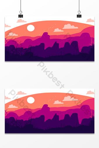 Dibujado a mano montañas iluminadas por la luna noche silueta imagen de fondo Fondos Modelo PSD