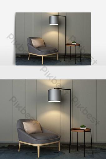 نموذج المصباح الأرضي أريكة النسيج الرمادي الحديث الديكور والنموذج قالب MAX