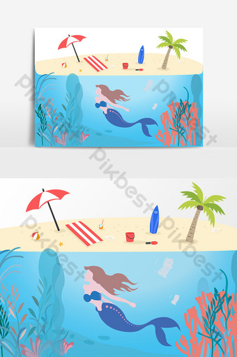 Summer beach seaside design elements PNG Images Template AI