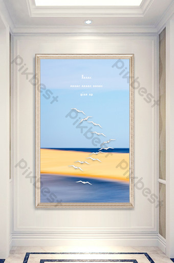 simple nordic style beautiful sea view porch decorative painting Decors & 3D Models Template PSD