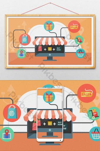 fondo de ilustración de compras en línea de comercio electrónico plano Ilustración Modelo PSD