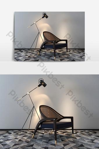 النمط الصيني الجديد نموذج كرسي واحد رمادي الديكور والنموذج قالب MAX
